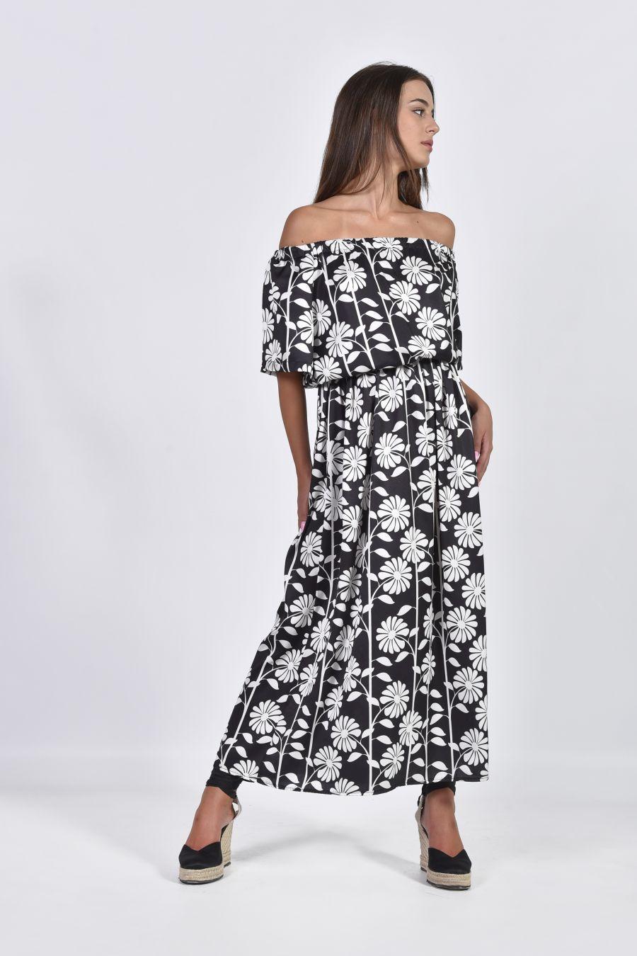 Ασπρόμαυρο φλοράλ φόρεμα