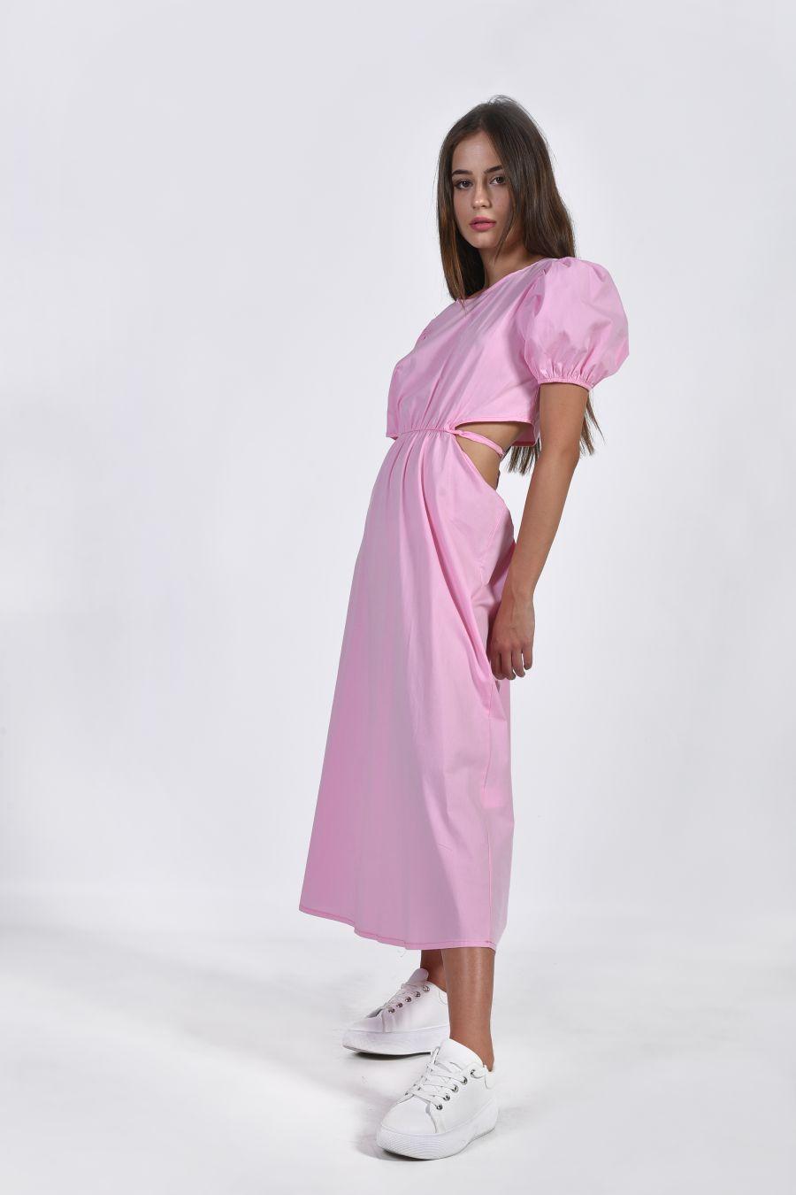 Midi φόρεμα με φουσκωτούς ώμους