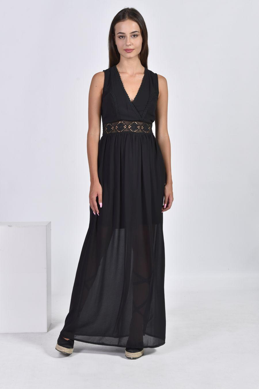 Μακρύ φόρεμα με πλεκτές λεπτομέρειες