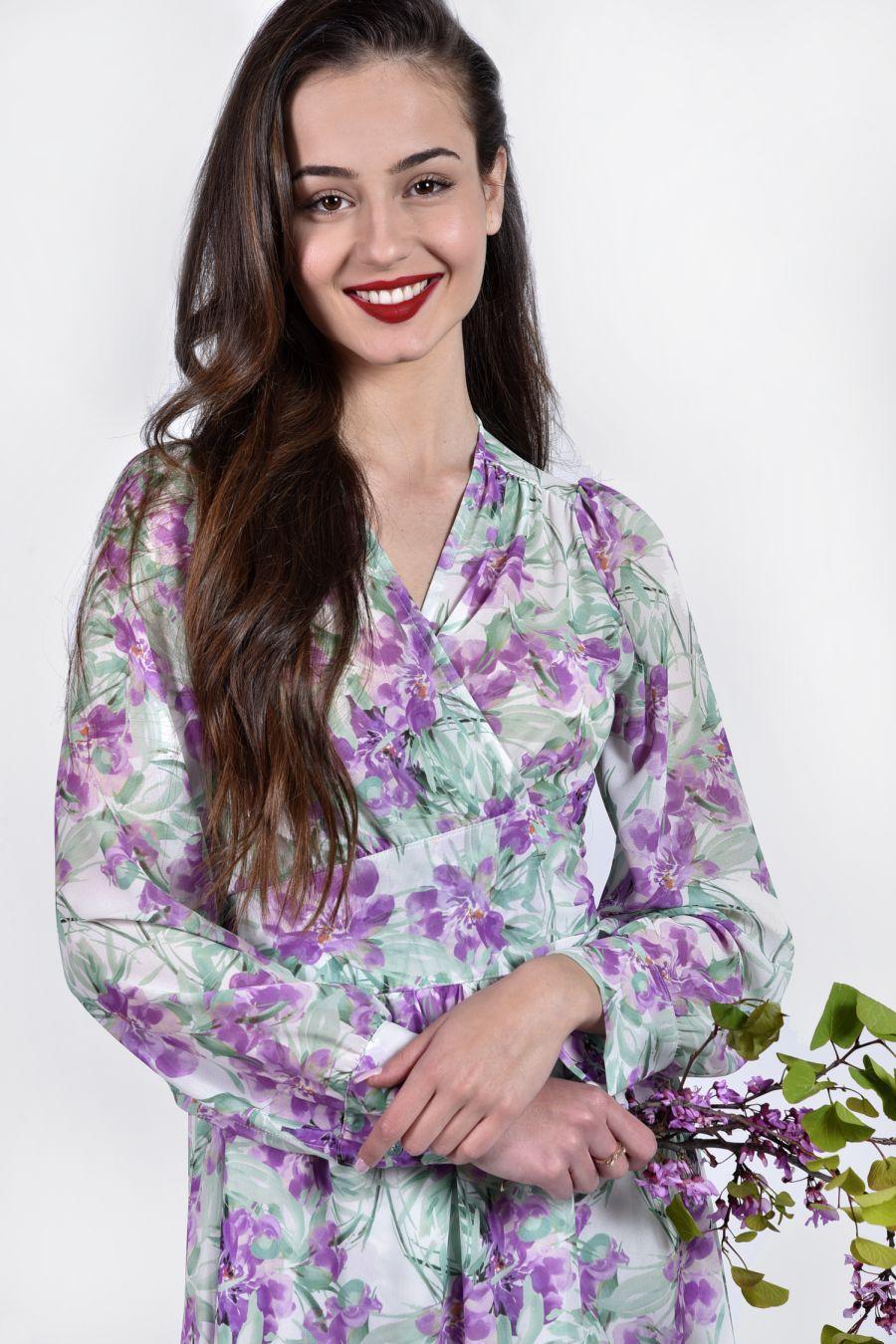 Maxi κρουαζέ floral φόρεμα
