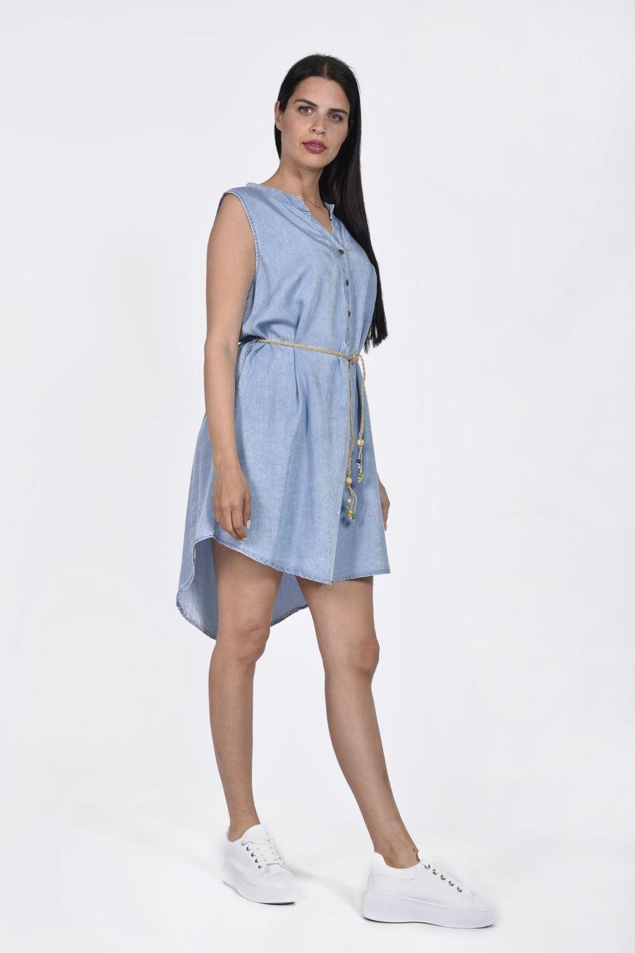 Ασύμμετρο τζιν φόρεμα