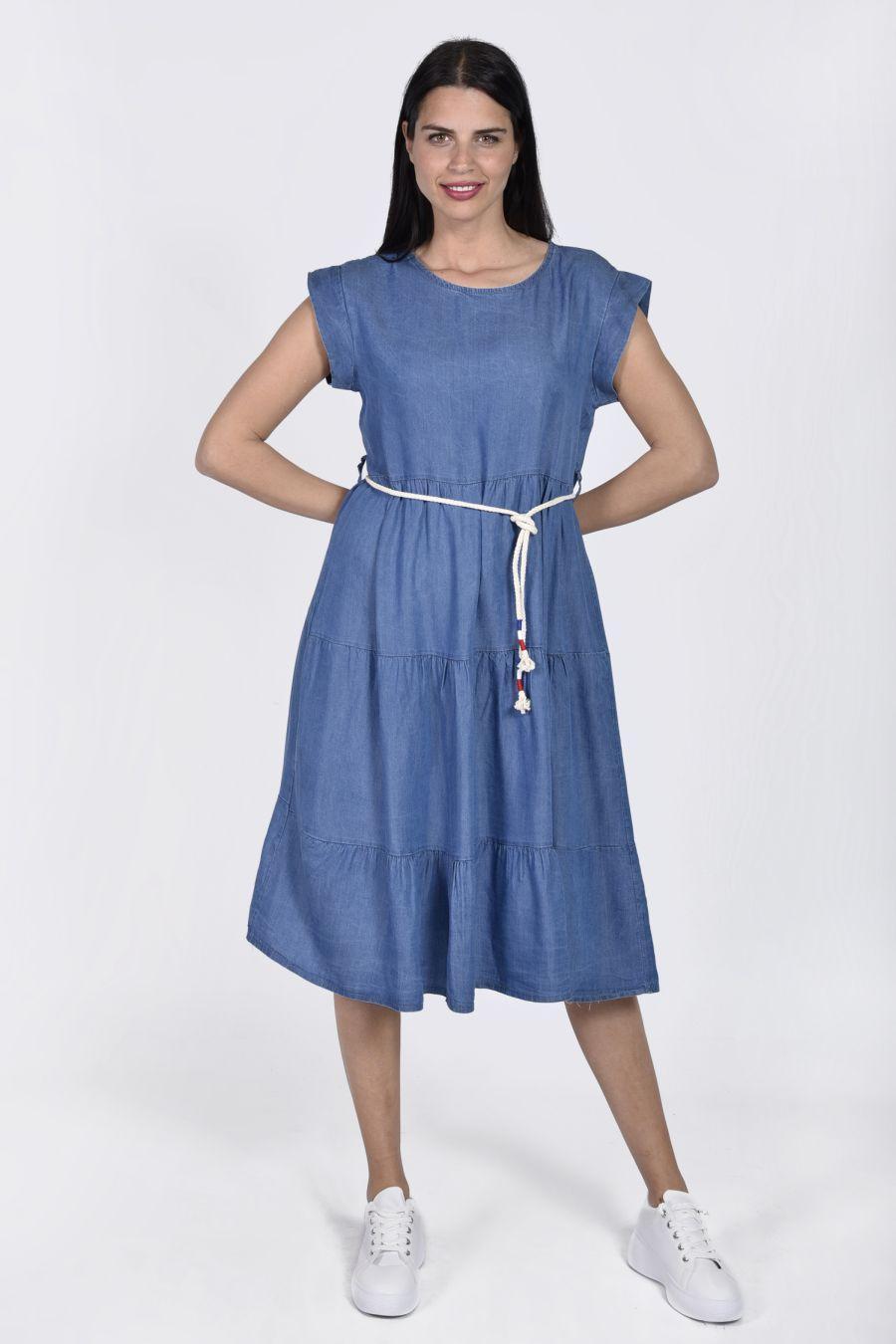 Denim φόρεμα με ζώνη