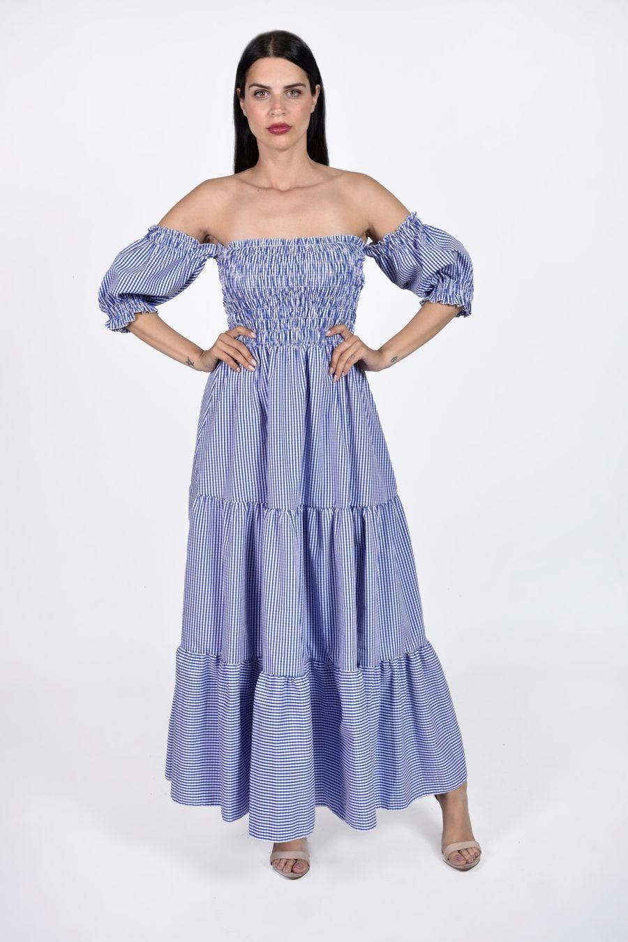 Maxi καρό φόρεμα με ακάλυπτους ώμους