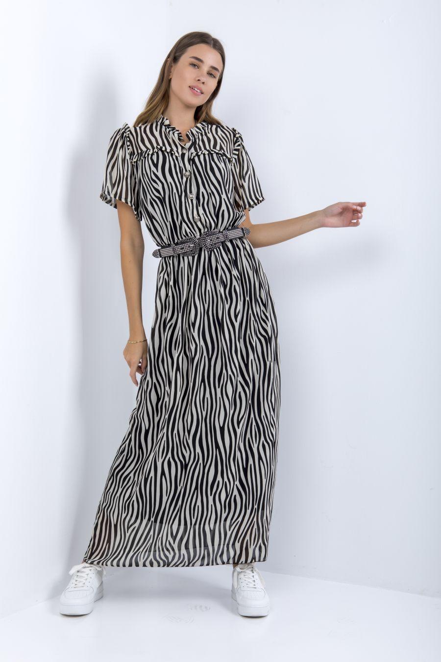 Μακρύ animal print φόρεμα